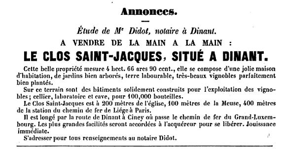 Dinant 1862 : à vendre vignoble Le Clos Saint-Jacques